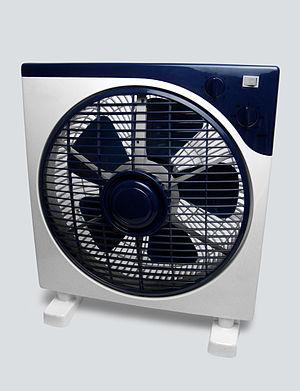 "Fan (machine) - Household electric ""box"" fan with a propeller style blade"