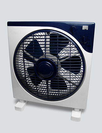 "Fan (machine) - Household electric ""box"" fan with a propeller style blade"