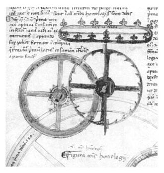 Verge escapement - One of the earliest existing drawings of a verge escapement, in Giovanni de Dondi's astronomical clock, the Astrarium, built 1364, Padua, Italy.  This had a balance wheel (crown shape at top) instead of a foliot.  The escapement is just below it.  From his 1364 clock treatise, Il Tractatus Astrarii.