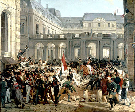 Louis-Philippe going from the Palais-Royal to city hall, 31 July Vernet - 31 juillet 1830 - Louis-Philippe quitte le Palais-Royal.jpg