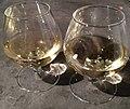 Verres de vin jaune au restaurant Le Patio (Dole) - jan 2018.jpg