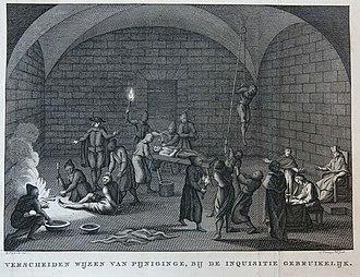Torture chamber - Image: Verscheiden wijzen van pijnigen bij de inquisitie gebruikelijk