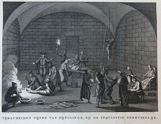 Verscheiden wijzen van pijnigen bij de inquisitie gebruikelijk