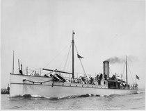 Vesuvius (dynamite-gun cruiser). Port bow, underway, 1891 - NARA - 512899.tif