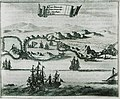 Views of the gulf of Pylos with Palaiokastro (Α), the Castle of Pylos (Niokastro) (Β), Agios Nikolais height (C) and - Dapper Olfert - 1688.jpg