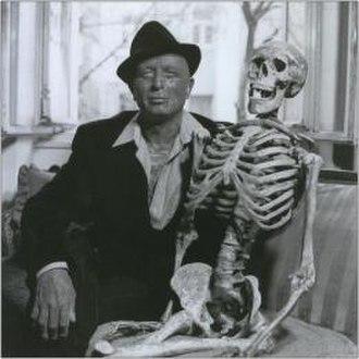Vladimír Franz - Franz posing with a human skeleton, 2012.