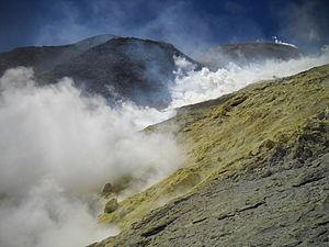 Lastarria - Vigorous fumarolic activity on the west slope of Lastarria. Note the yellow sulfur.