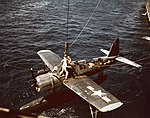 Vought OS2U Kingfisher is recovered after a training flight, circa in 1944 (80-G-K-5180).jpg