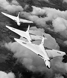 Avro Vulcan bombers from RAF Waddington flying in formation in 1957.