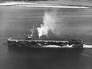 Wake Island (CVE-65) underway in Hampton Roads, Virginia (USA), on 9 November 1944 (80-G-289879)