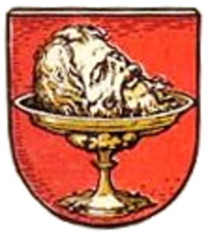 Koszalin - Coat of arms from ca. 1400-1800, showing the head of John the Baptist.