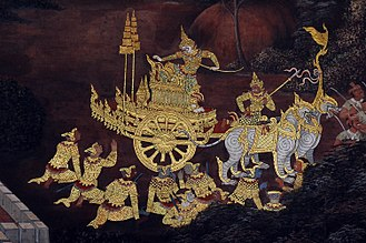 Rattanakosin Kingdom (1782–1932) - Hanuman on his chariot, a mural scene from the Ramakien in Wat Phra Kaew.
