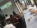 Watching Wikimania 20 year anniversary film.jpg