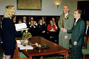Same-sex marriage in the Netherlands - Two men marrying in Amsterdam, Netherlands, in April 2001, the first month in which the possibility to marry was opened to same-sex couples.