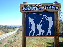 Sign welcoming visitors to Fall River Valley