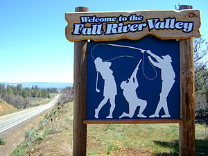 Fall River Mills, California - Sign welcoming visitors to Fall River Valley