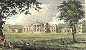 Wentworth Woodhouse - Wentworth Woodhouse (east front) from A Complete History of the County of York by Thomas Allen (1828–30).