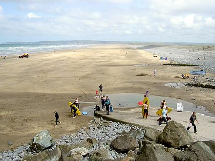 The beach at Westward Ho!, North Devon, looking north towards the shared estuary of the rivers Taw and Torridge. Westwardho.beach.arp.750pix.jpg