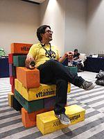 Wikimania 2015-Wednesday-Volunteers play Weasel-Jenga (43).jpg