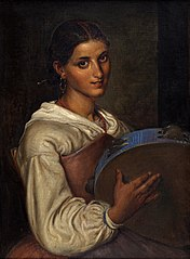 Italian girl with a blue tambourine