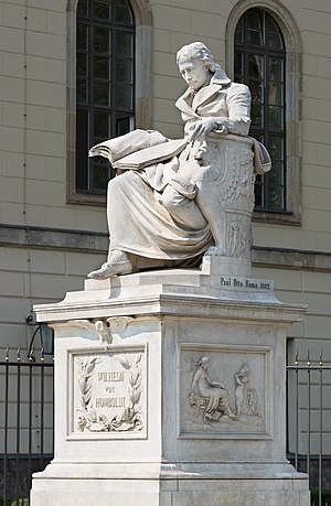 Humboldt University of Berlin - Monument to Wilhelm von Humboldt in front of the main building. Artist: Paul Otto