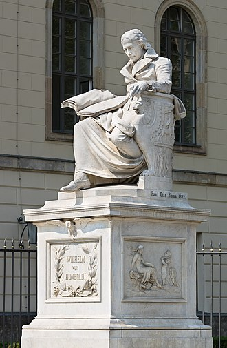 Humboldt University of Berlin - Statue of Wilhelm von Humboldt in front of the main building by artist Paul Otto.