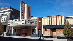 Charleston, Illinois - Will Rogers Theatre and Commercial Block