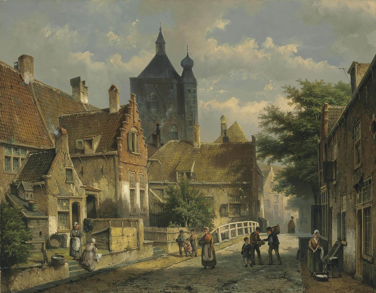 Willem Koekkoek - Villagers on a Sunlit Dutch Street.jpg