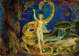 Temptation - Eve Tempted by the Serpent by William Blake, 1799-1800 (painted)