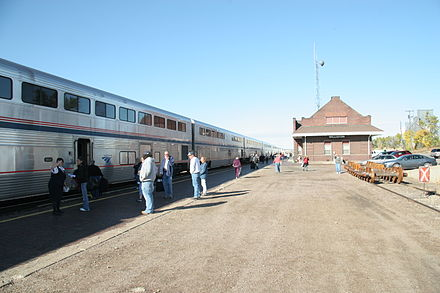 Williston, North Dakota Amtrak Station, a popular way to get to the city. Williston-Amtrak.JPG
