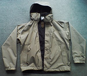 Windbreaker - A windbreaker with its stowable hood outside.