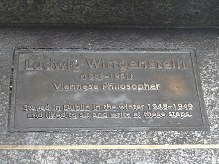 Plaque in the National Botanic Gardens, Dublin, commemorating Wittgenstein's visits in the winter of 1948–1949.
