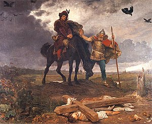 Casimir I the Restorer - Casimir the Restorer returning to Poland, by Wojciech Gerson. The painting was made at a time when Poland had been partitioned and lost its independence, and memory of the medieval Restorer inspired Poles in their hope for a new one.
