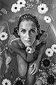 Woman in flower bath in black and white (Unsplash).jpg