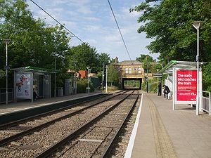 Woodside tram stop - View looking north towards old station building