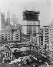 Photograph of the Woolworth Building under construction