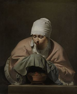 Caesar van Everdingen - Young woman warming her hands by Caesar van Everdingen (1646), Rijksmuseum, Amsterdam.