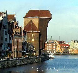 The medieval port crane (Krantor), called Żuraw over Motława river
