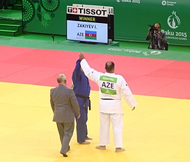 Zakiyev (AZE) vs Pominov (UKR) at the gold final of the 2015 European Games 10.jpg