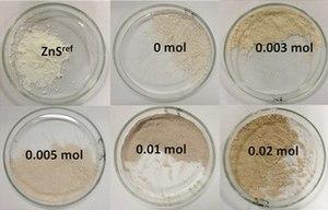 Zinc sulfide - Image: Zn S powders 2