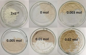 Zinc sulfide - ZnS powders containing different concentrations of sulfur vacancies