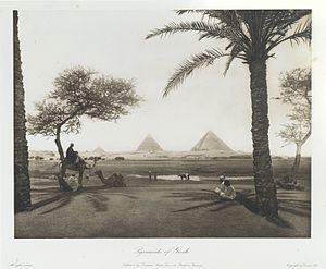 Giza pyramid complex - Pyramids of Ghizeh. 1893.  Egypt ; heliogravures after original views. Wilbour Library of Egyptology. Brooklyn Museum