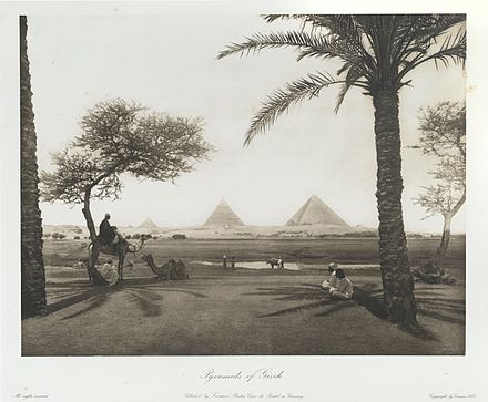 "Pyramids of Ghizeh. 1893. Egypt; heliogravures after original views. Wilbour Library of Egyptology. Brooklyn Museum ""Pyramids of Ghizeh."" 1893.jpg"