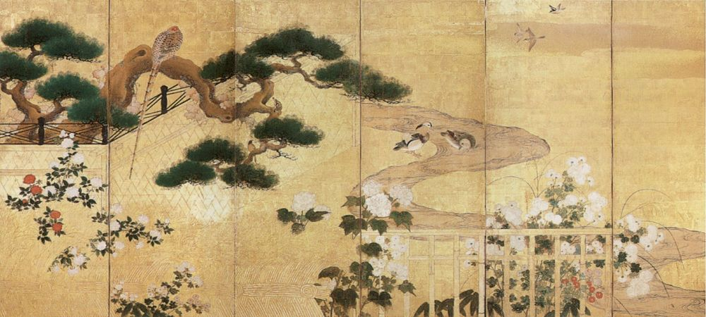 'Birds and Flowers 2, one of two six-panel screens by Kano Koi, 17th century Japan, Honolulu Academy of Arts.jpg