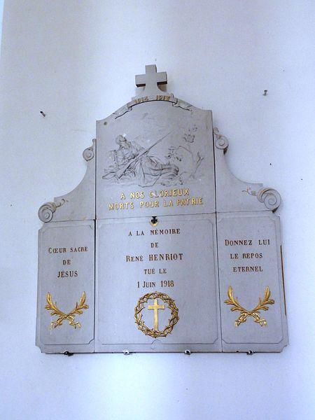 Église Saint-Didier de Baudrémont, plaque monument aux morts