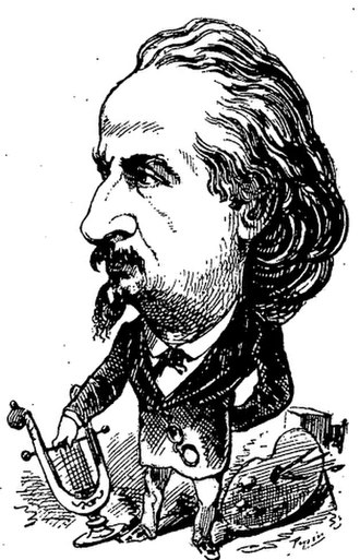 Étienne Carjat - Caricature of Carjat by George Lafosse, published in Le Trombinoscope (1871).