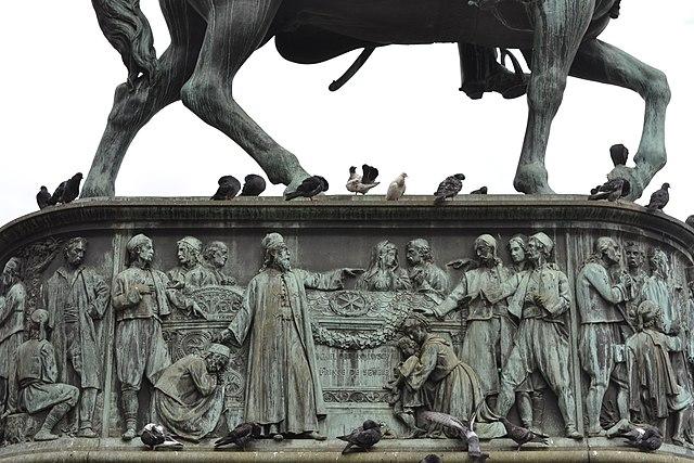 Relief on the sculpture of Prince Michael in Belgrade, by Krumb77