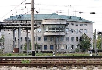 Darnytsia railway station - Traffic control building at Darnytsia Station.