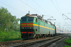 Gorodishchensky District, Volgograd Oblast - Electric locomotive ChS8-069 with passenger train near Orlovka, Gorodishchensky District