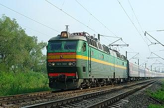 Gorodishchensky District, Volgograd Oblast - Electric locomotive ChS8-069 with passenger train near Orlovka, Gorodishchensky District